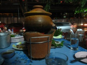 thai soup in clay pot