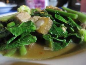 thai kale with roast pork