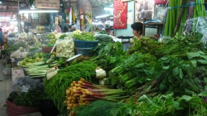 fresh vegetables market in bangkok